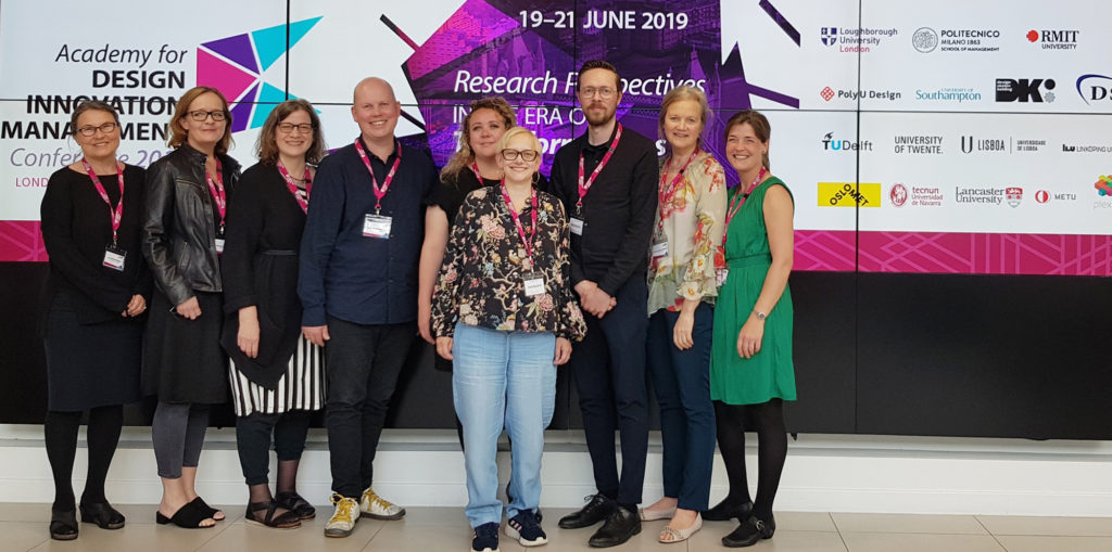 photo of the Design Literacy Network participants from Norwegian before their departure. From left to right: Liv Merete Nielsen, Else Margrethe Lefdal, Janne Beate Reitan, Tore Andre Ringvold, Irene Brodshaug, Anita Neuberg, Peter Haakonsen, Randi Veiteberg Kvellestad, Eva Lutnæs