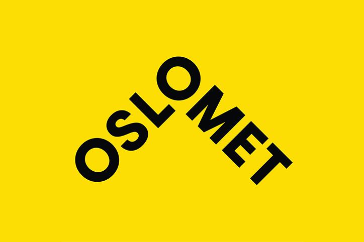 Oslo Metropolitan University logo with yellow background