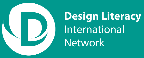 Reversed Design Literacy Logo on a green background cropped